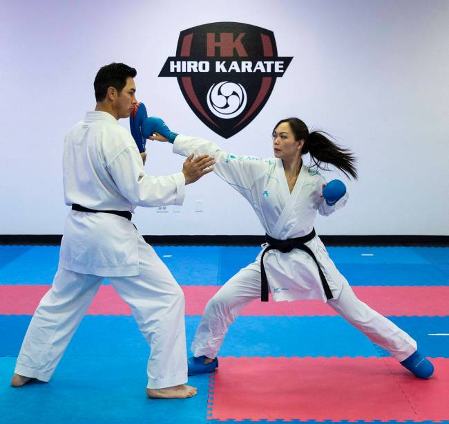 Trinity Allen trains with her father, Hiroshi Allen. Allen is preparing to qualify for the U.S. ...