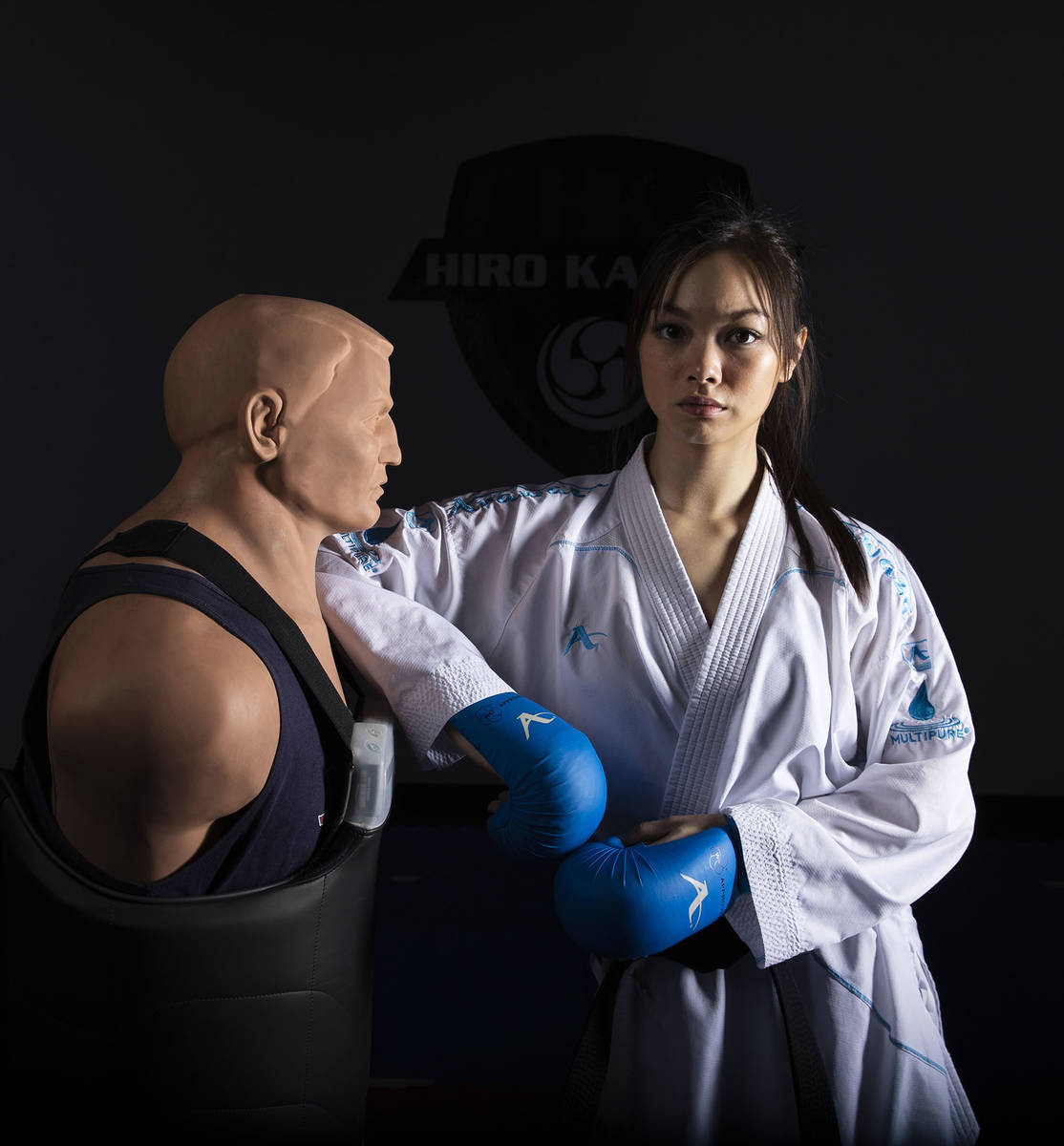 Trinity Allen, 20, at her father karate studio, is preparing to join the US Olympic team at the ...