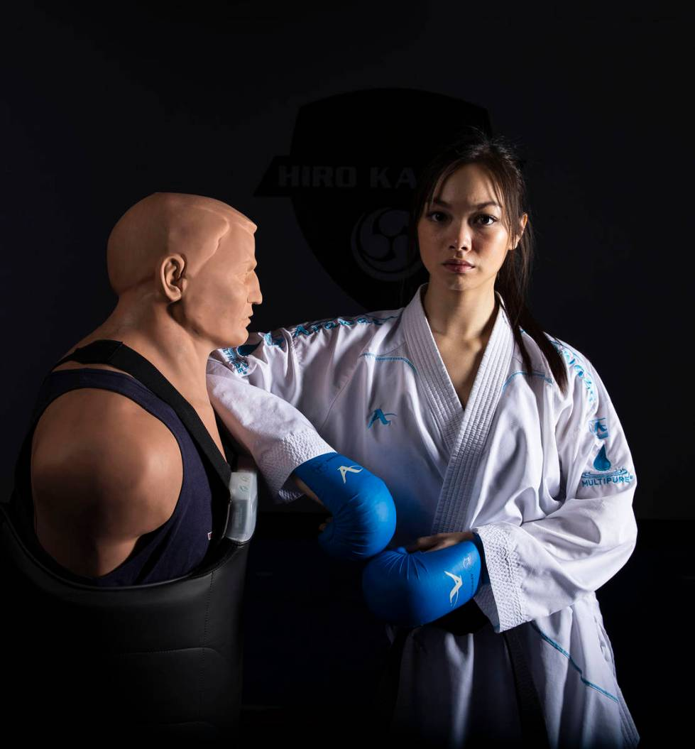 Trinity Allen, 20, at her father's karate studio, is preparing to join the US Olympic team at t ...