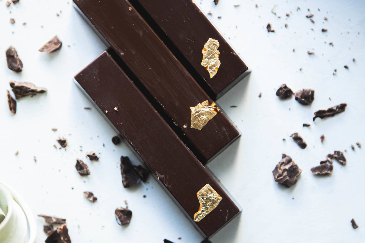 Mallari's chocolate bars contain his most uncommon combinations, such as dark chocolate with ...