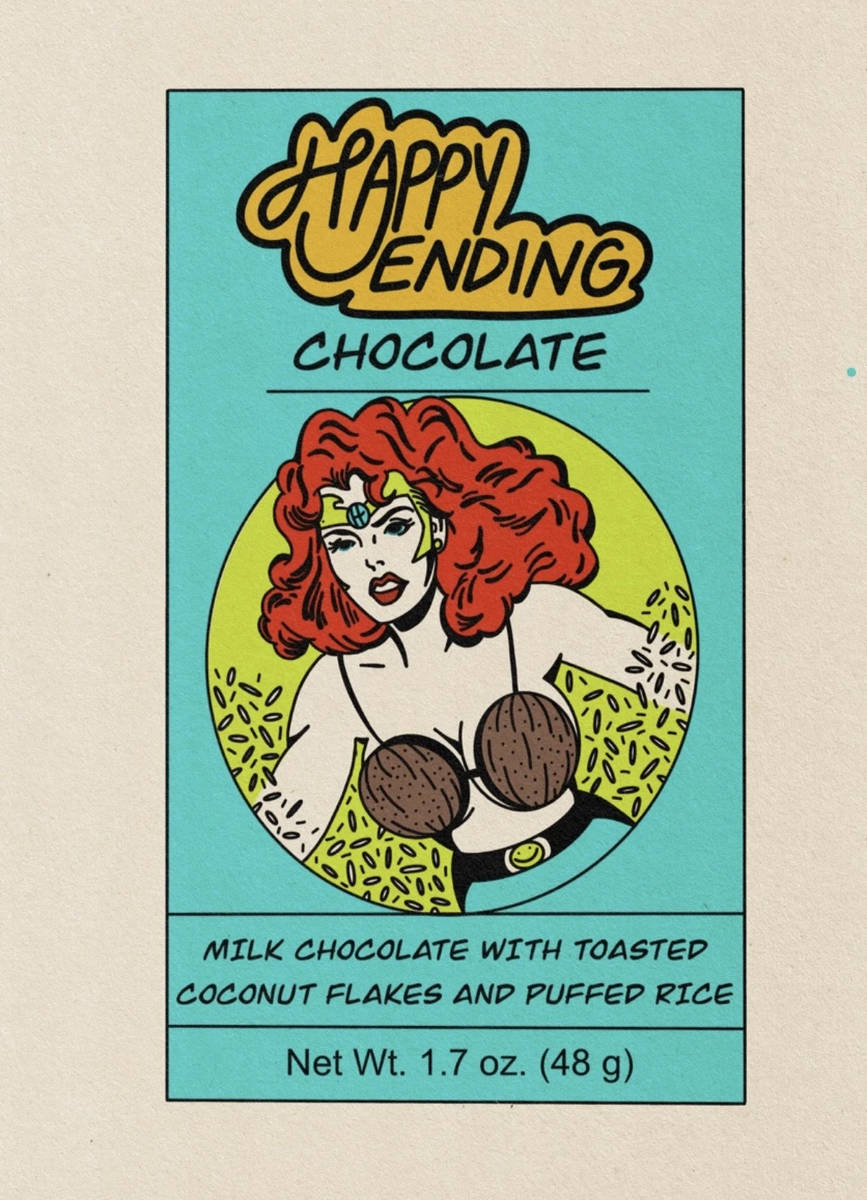 One package is reminiscent of Wonder Woman wearing a coconut-shell bikini top. (Vincent Landin)