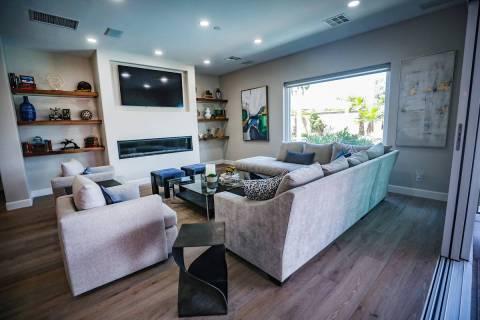 Peggy Sleik and Mike Hug have floating shelves in their Henderson home. (Rachel Aston)