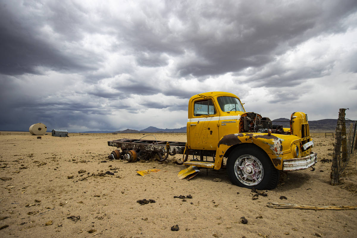 An abandoned 1950s International R190 truck is seen in the Hot Creek Range along the Basin &amp ...