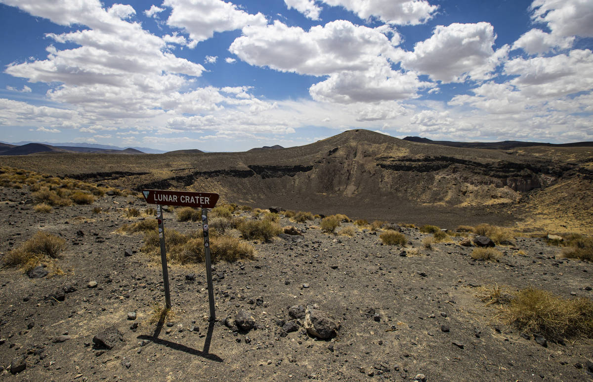 The Lunar Crater national natural landmark, located in the Pancake Range, is seen along the Bas ...