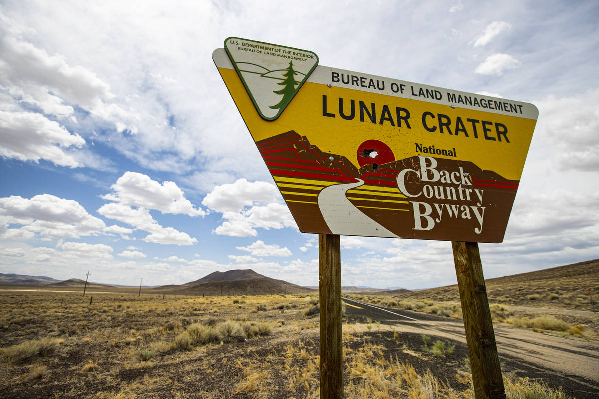 Signage for the Lunar Crater volcanic field in the Pancake Range along the Basin & Range tr ...