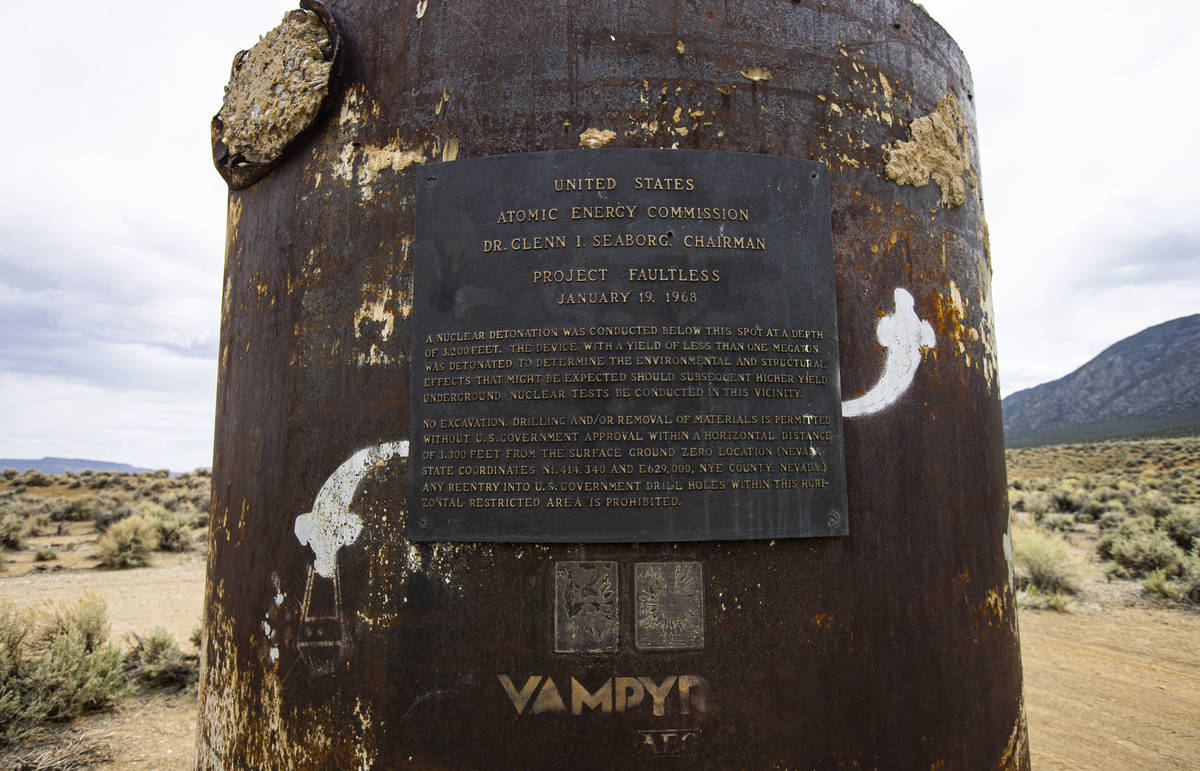 A marker for the Project Faultless underground nuclear detonation in the Hot Creek Range along ...