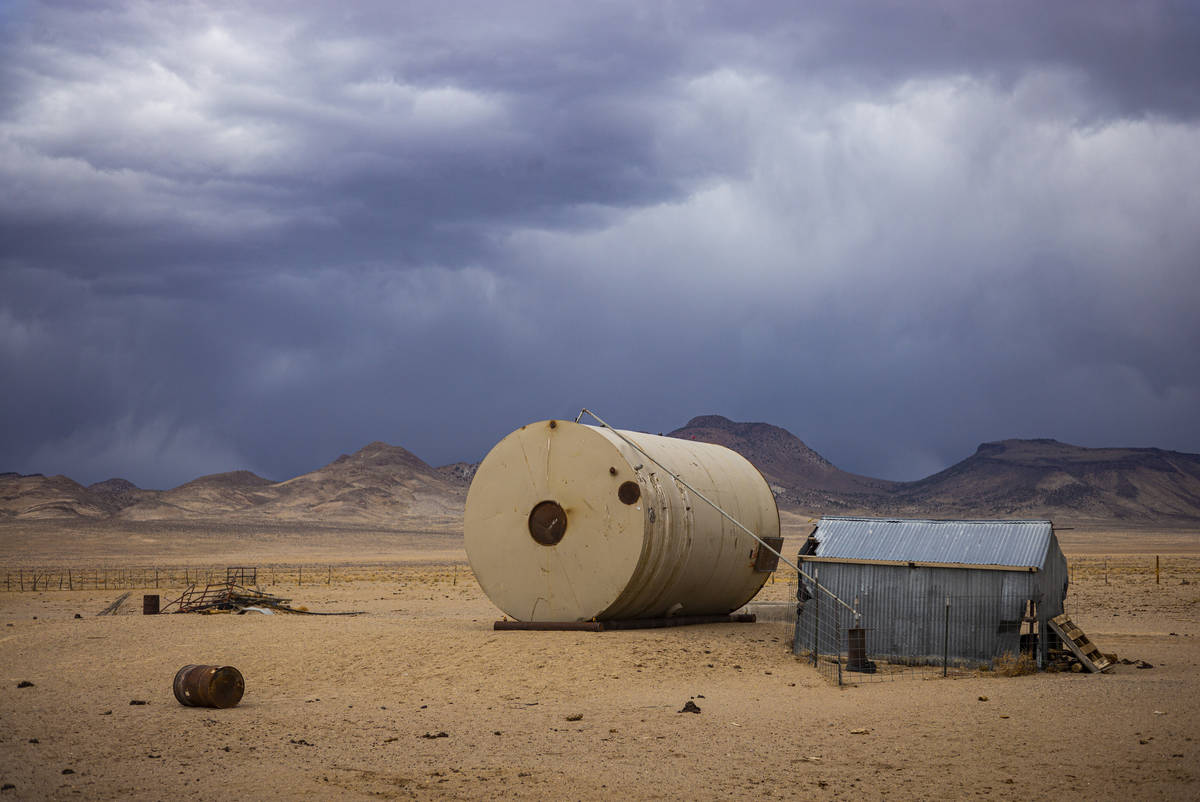An abandoned water tank in the Hot Creek Range along the Basin & Range trail route in Nye C ...