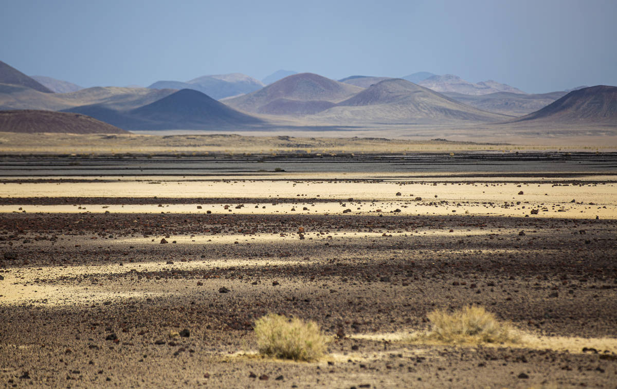 The Lunar Lake playa is seen in the Lunar Crater volcanic field in the Pancake Range along the ...