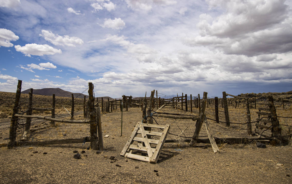 A worn down pen is seen in the Pancake Range along the Basin & Range trail route in Nye Cou ...