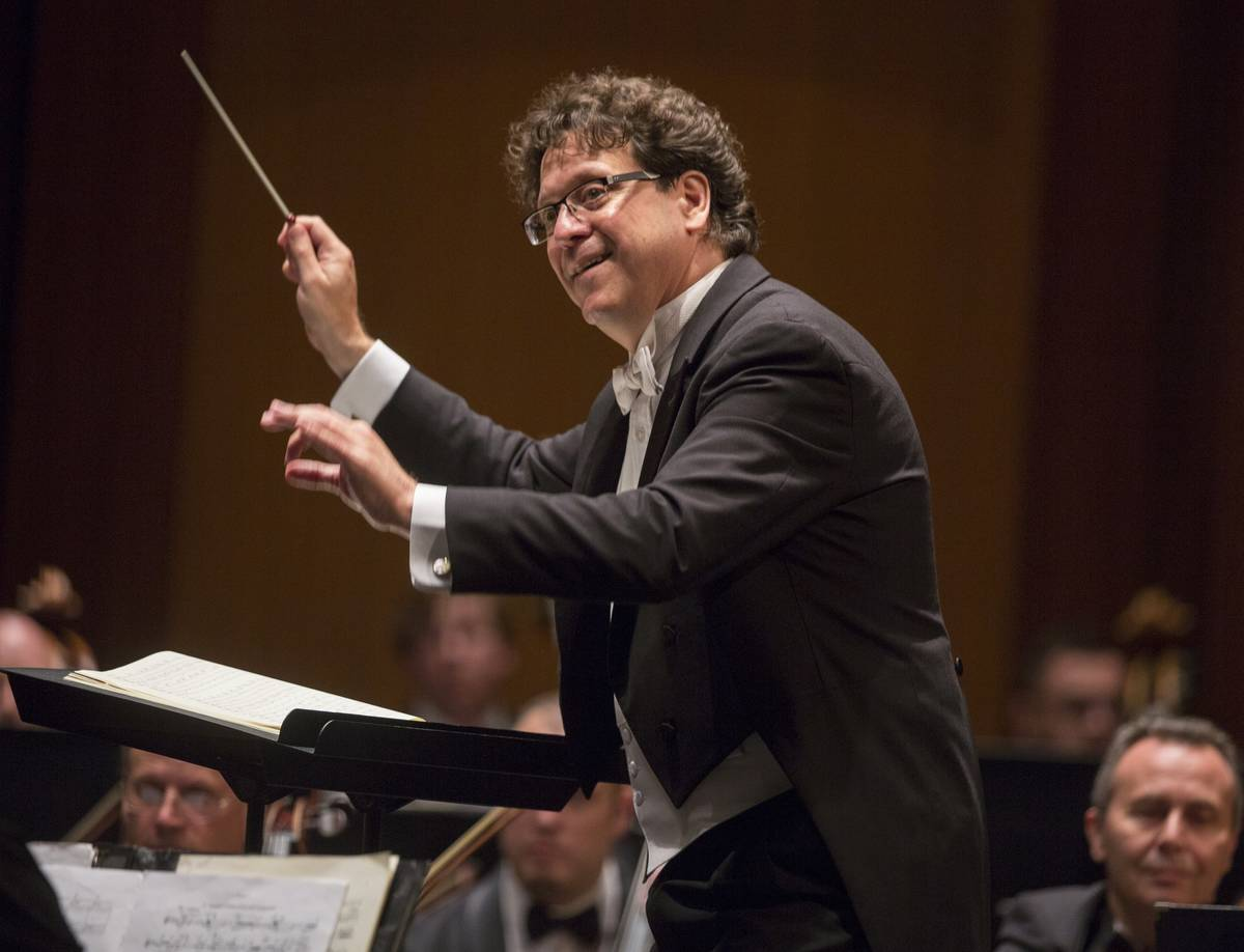 Music Director Donato Cabrera directs the Las Vegas Philharmonic on Sept. 7, 2019, at The Smith ...