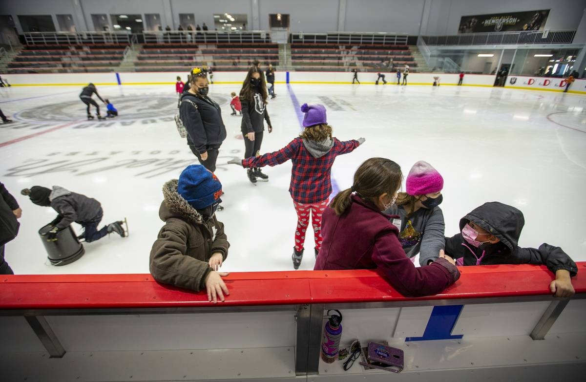 Youngsters with the Battle Born Kids Program take to the ice during opening day skating at the ...