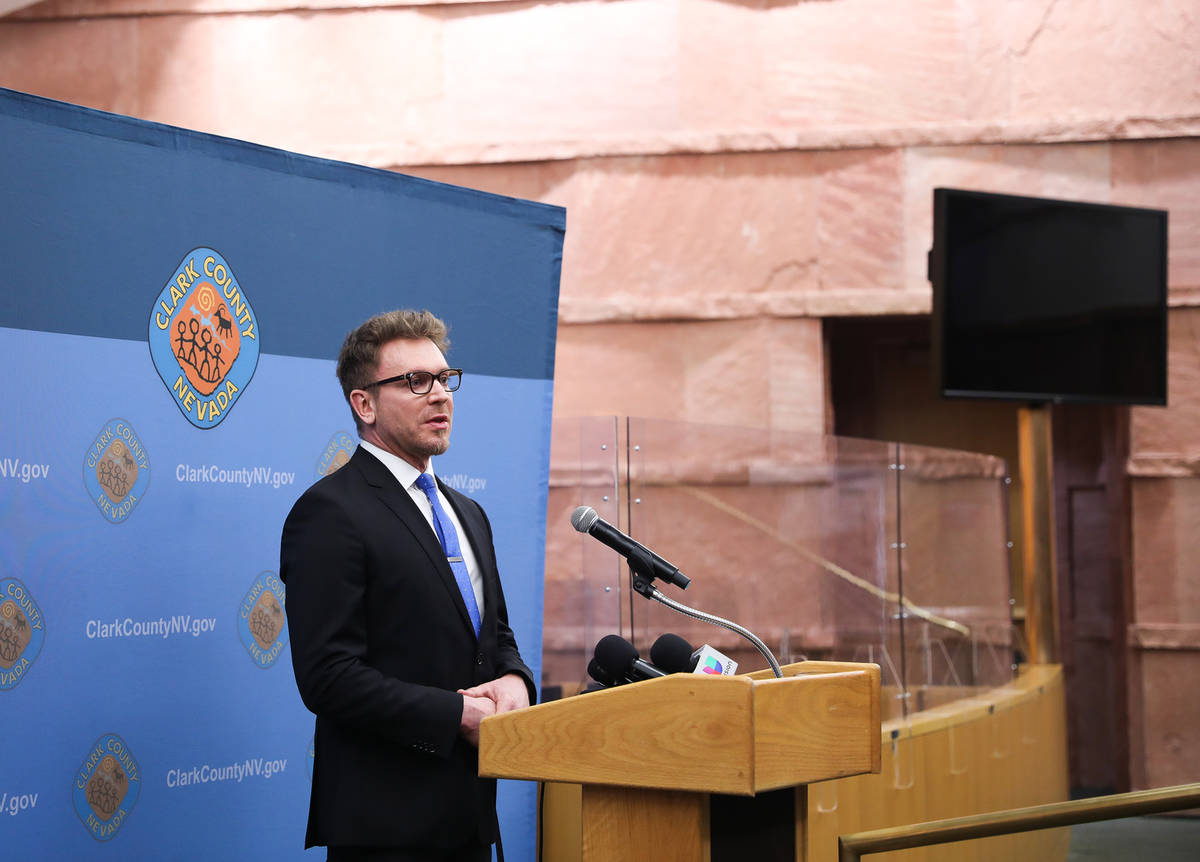Attorney Jim Berchtold, with the Legal Aid Center of Southern Nevada, speaks at a press confere ...