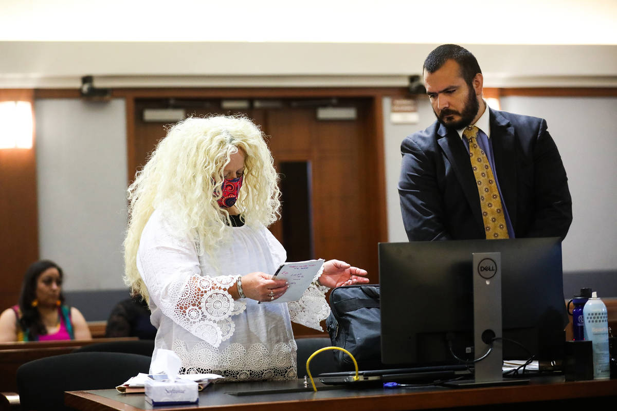 Suzy Niffenegger, left, at her eviction hearing with her attorney Christopher Storke, right, on ...