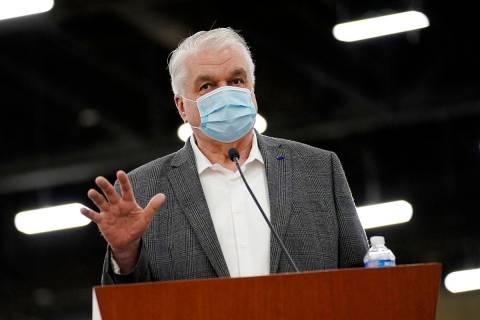 Nevada Gov. Steve Sisolak, seen in April 2021 in Las Vegas. (AP Photo/John Locher)