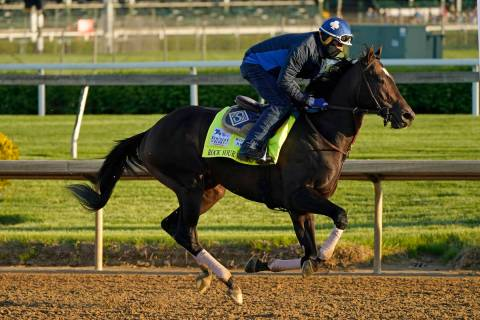 Kentucky Derby hopeful Rock Your World works out at Churchill Downs Tuesday, April 27, 2021, in ...