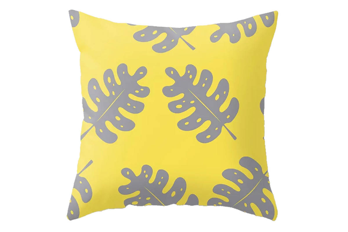 Throw pillows by Petite Patterns, simple monstera tropical leaf or simple palm leaf botanical p ...