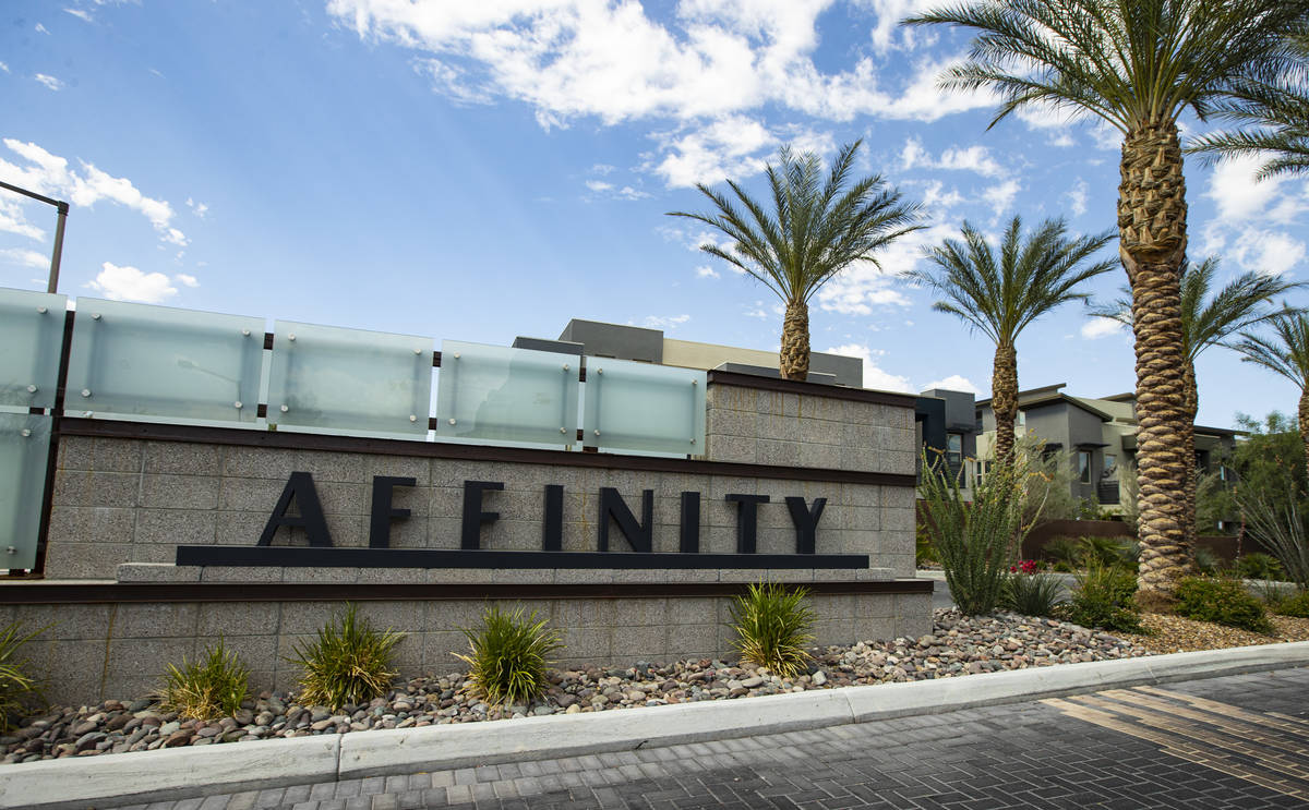 A view of the entrance to Affinity by Taylor Morrison in Summerlin just west of the 215 Beltway ...