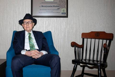 Former Senator Harry Reid poses for a portrait on Friday, Nov. 15, 2019, at William S. Boyd Sch ...