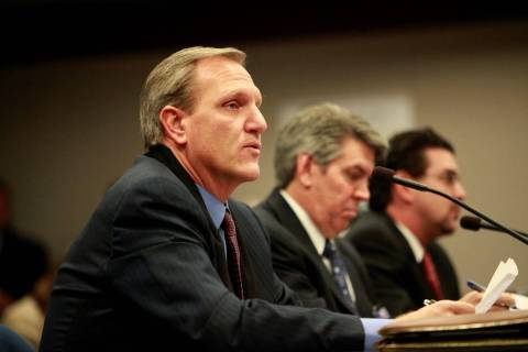 Former state Assemblyman Richard Perkins testifies before the Assembly Judiciary Committee at t ...
