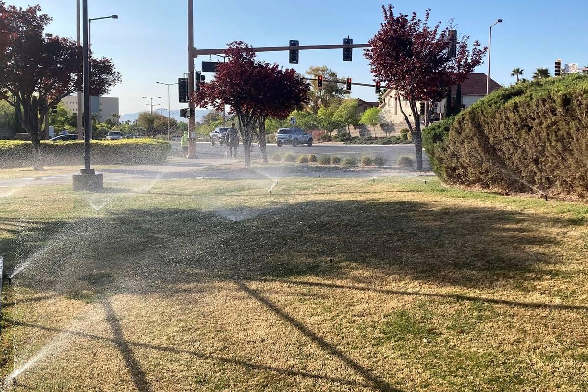 Sprinklers water grass near a street corner in the Summerlin neighborhood of northwest Las Vega ...