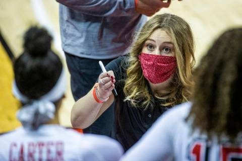 UNLV Lady Rebels head coach Lindy La Rocque instructs her players during a time out versus the ...