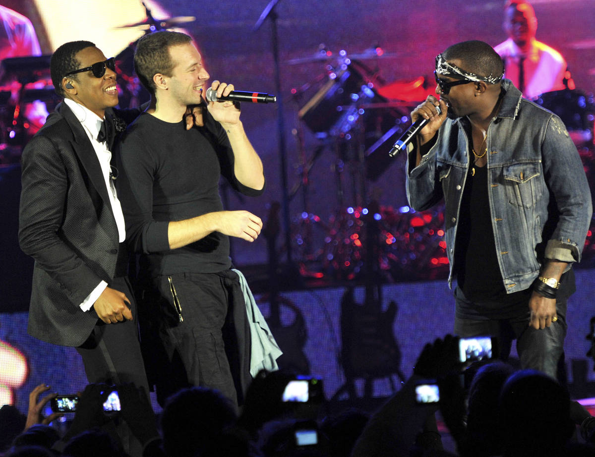 Rapper Jay-Z, musician Chris Martin of Coldplay, and rapper Kanye West perform onstage at The C ...
