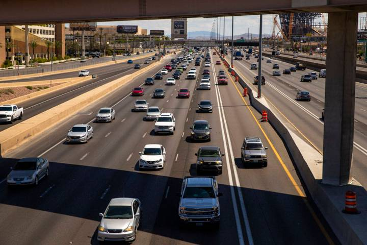 Much fewer vehicles travel in the HOV lane northbound on Interstate 15 about Tropicana Ave. as ...