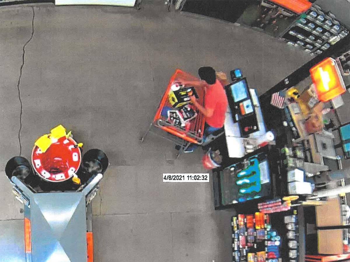 Aaron Guerrero is shown on surveillance video at a Home Depot store in Las Vegas. (Clark County ...