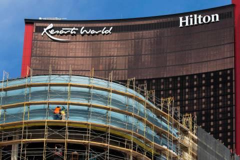 Construction is underway at Resort World Las Vegas, on Thursday, March 25, 2021. (Bizuayehu Tes ...
