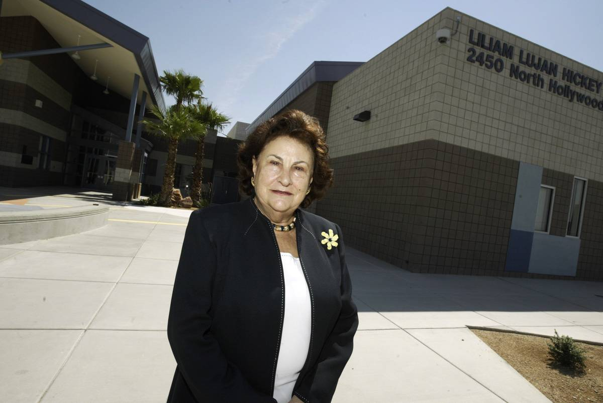Liliam Hickey is pictured in front of the elementary school which bears her name in Las Vegas o ...