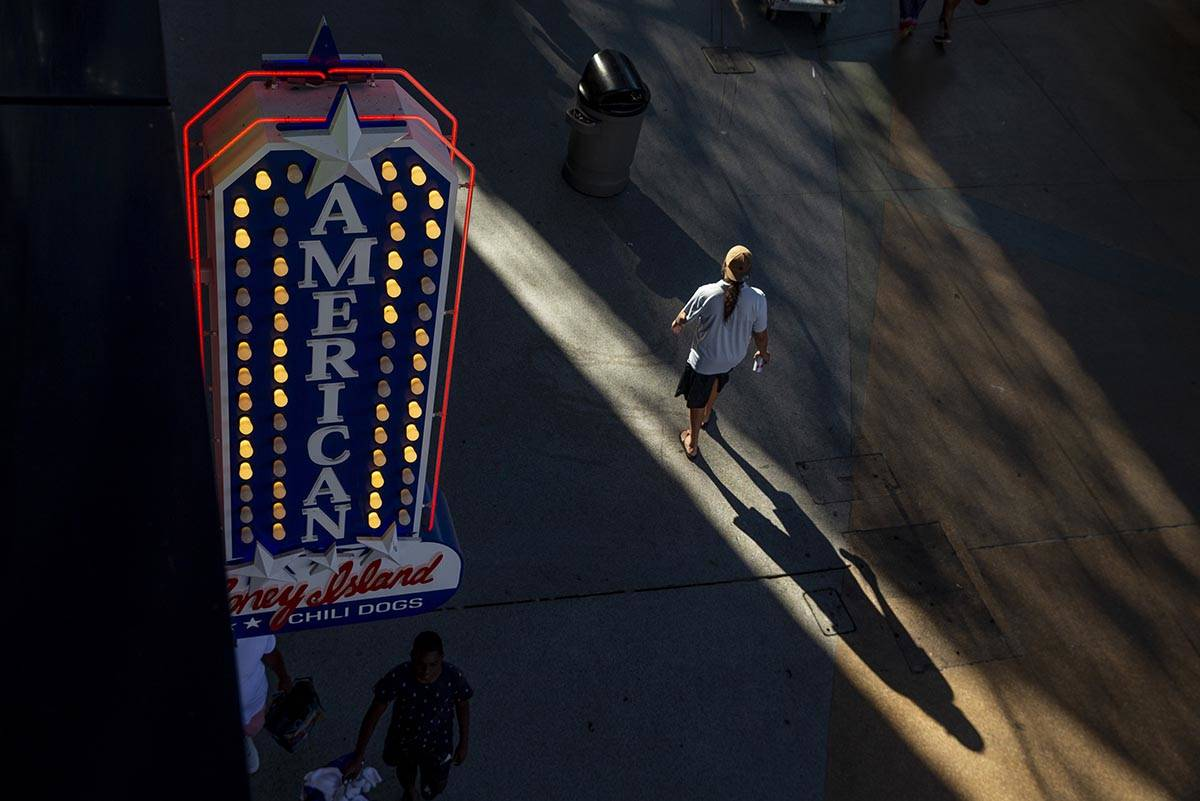 The late-day sun casts along shadow near the D Las Vegas at the Fremont Street Experience on Mo ...