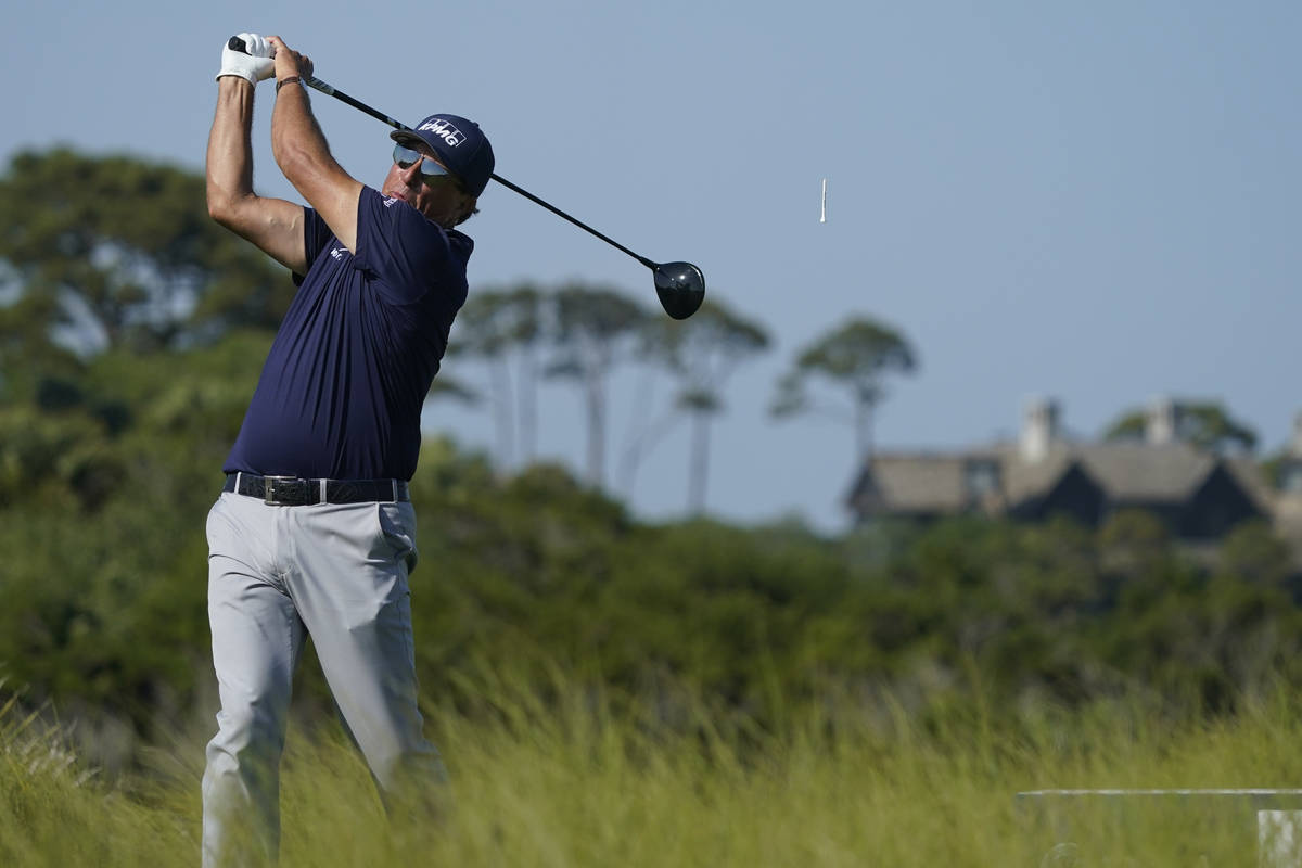 Phil Mickelson hits from the 11th hole during the final round at the PGA Championship golf tour ...