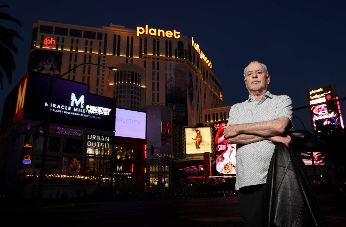 Jeff German, host of Mobbed Up, with Planet Hollywood (formerly the Aladdin) on the Strip in La ...