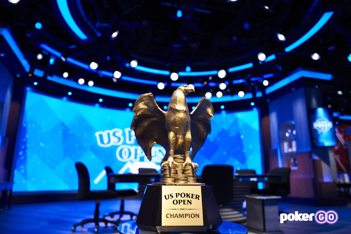 The Golden Eagle trophy awarded to the overall winner of the U.S. Poker Open. (Antonio Abrego/P ...