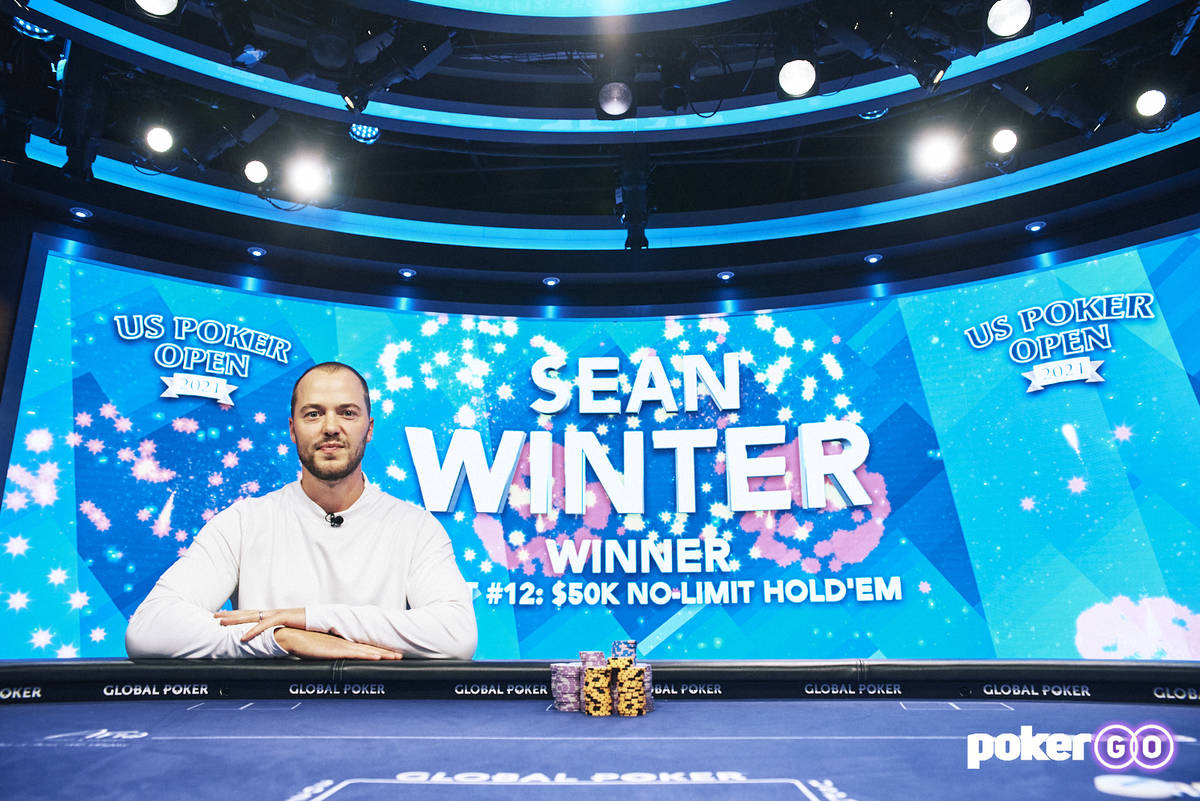 Sean Winter after winning the $50,000 buy-in No-limit Hold'em event at the U.S. Poker Open on T ...