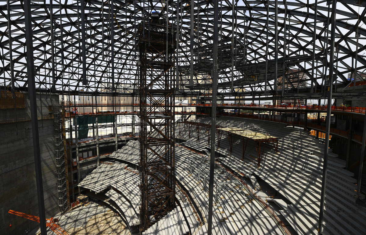 An interior view as construction continues during a tour of the Madison Square Garden Sphere at ...