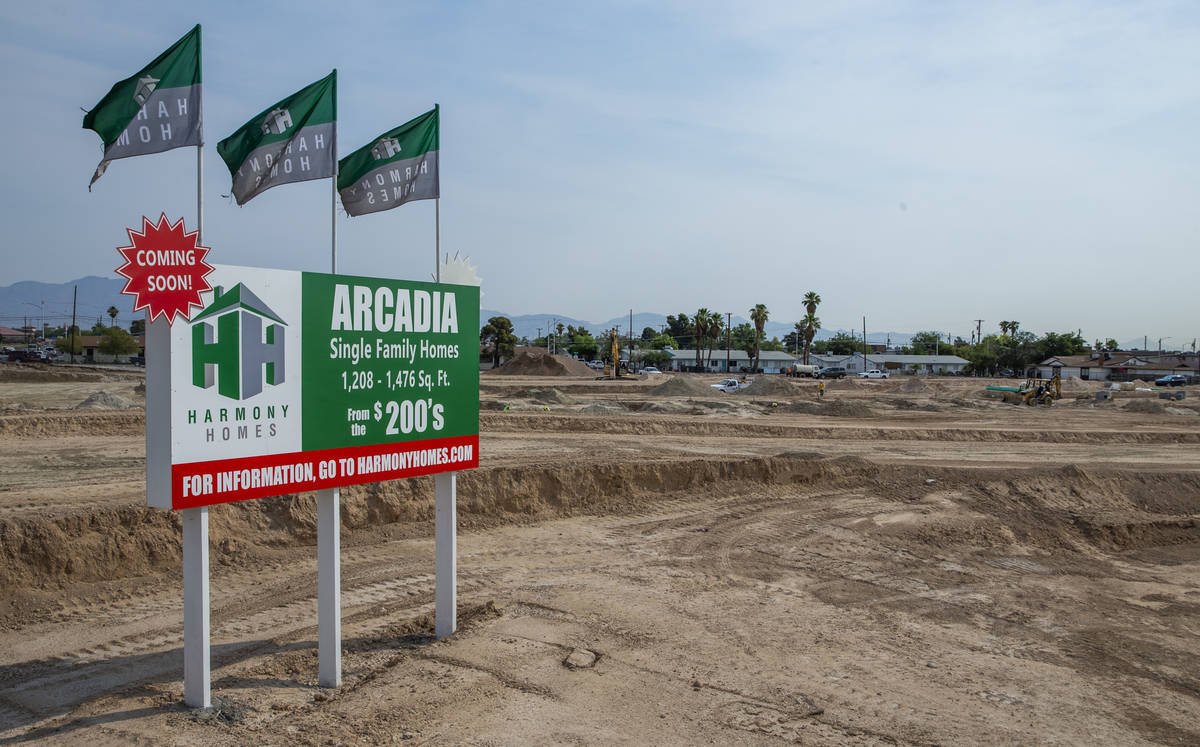Sign for Arcadia by Harmony Homes off of Rancho Drive on Wednesday, June 15, 2021, in Las Vegas ...