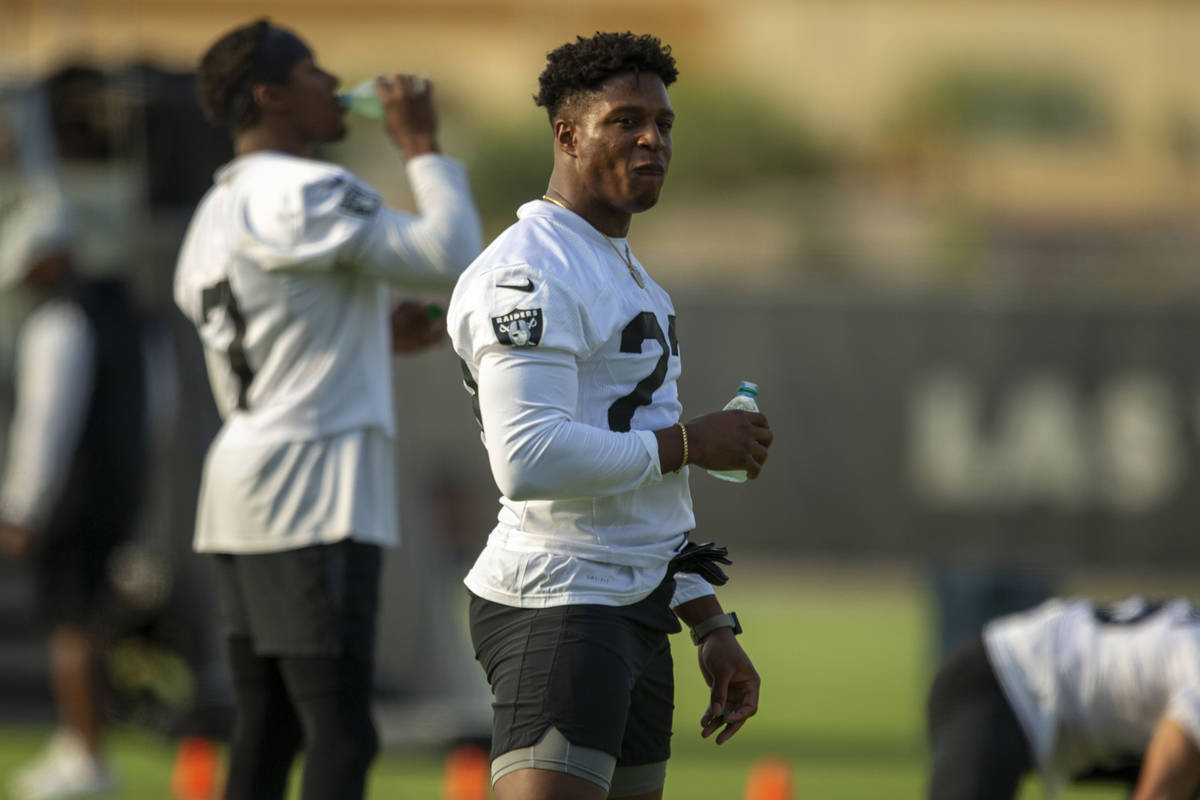 Raiders running back Kenyan Drake (23) during their NFL football practice on Wednesday, June 16 ...