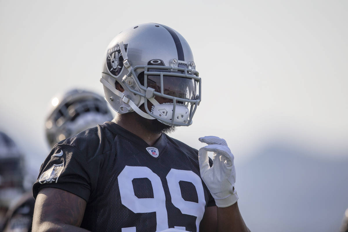 Raiders defensive end Clelin Ferrell (99) during an NFL football practice on Wednesday, June 16 ...
