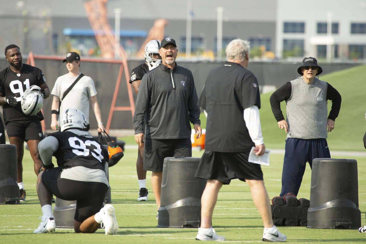 during their NFL football practice on Wednesday, June 16, 2021, at Raiders headquarters in Hend ...