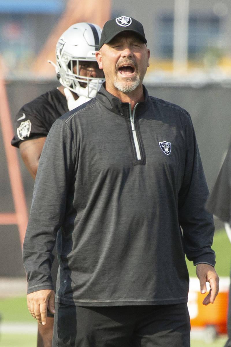 Raiders defensive coordinator Gus Bradley during an NFL football practice on Wednesday, June 16 ...