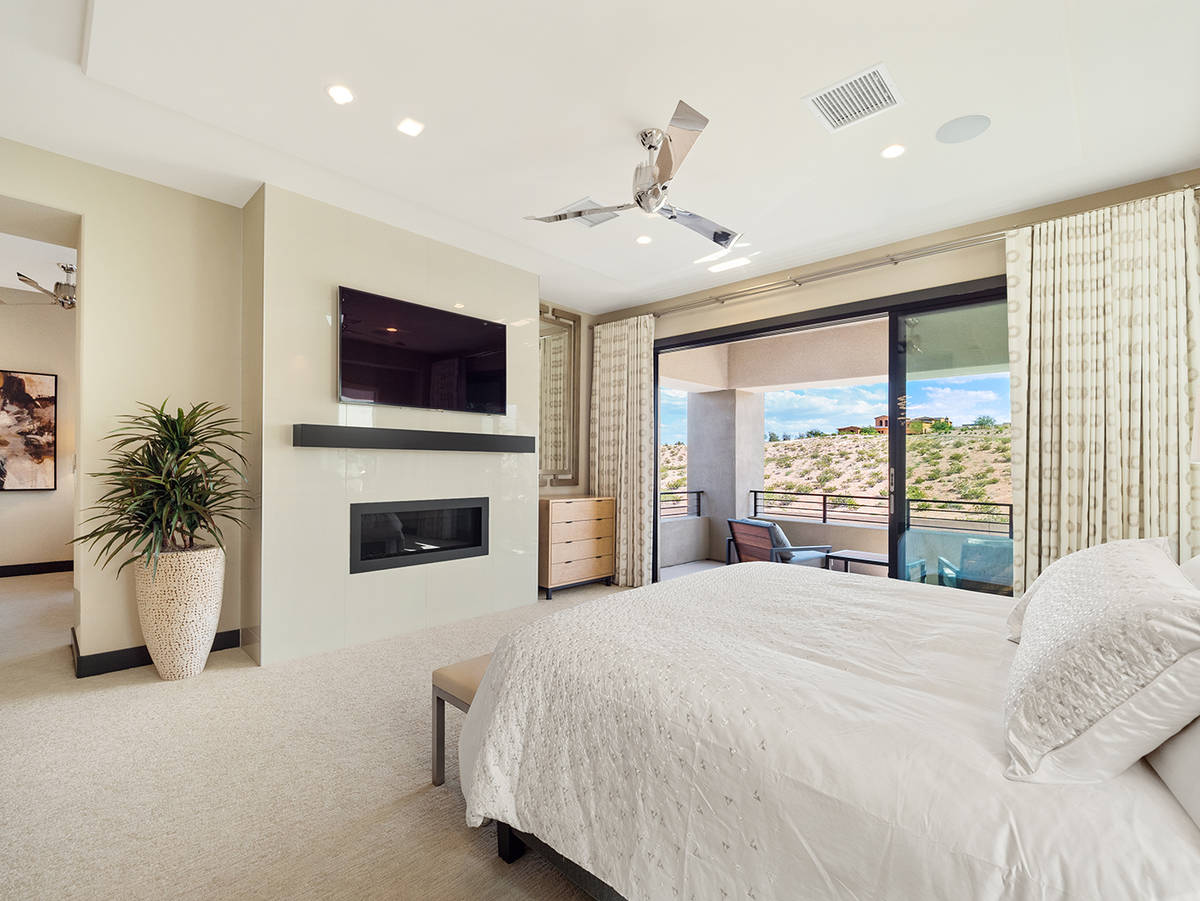 """The master bedroom is on the second floor. (LVREAL) """"Unwind in an extraordinary master suite, ..."""