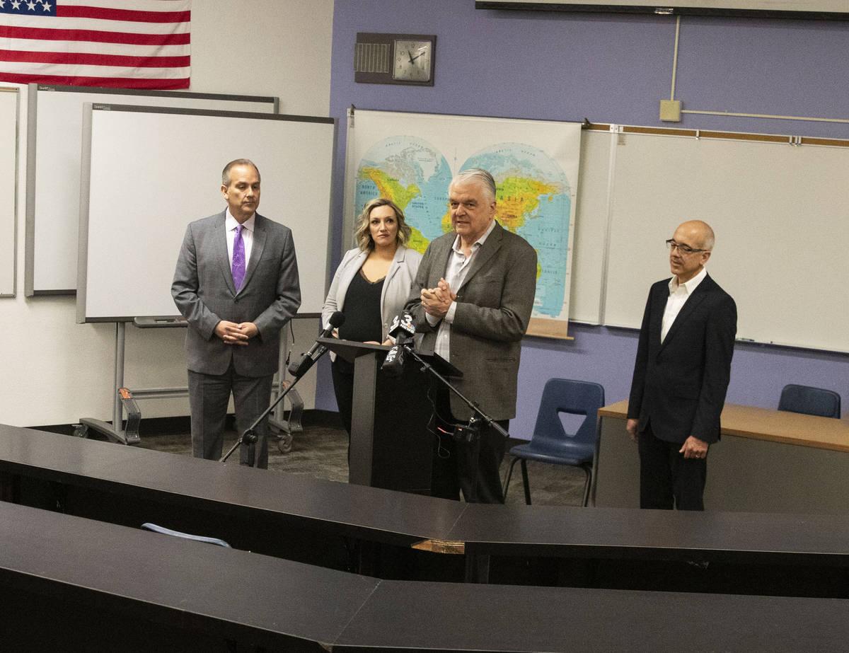 Gov. Steve Sisolak addresses the media as the Clark County School District Superintendent Jesus ...