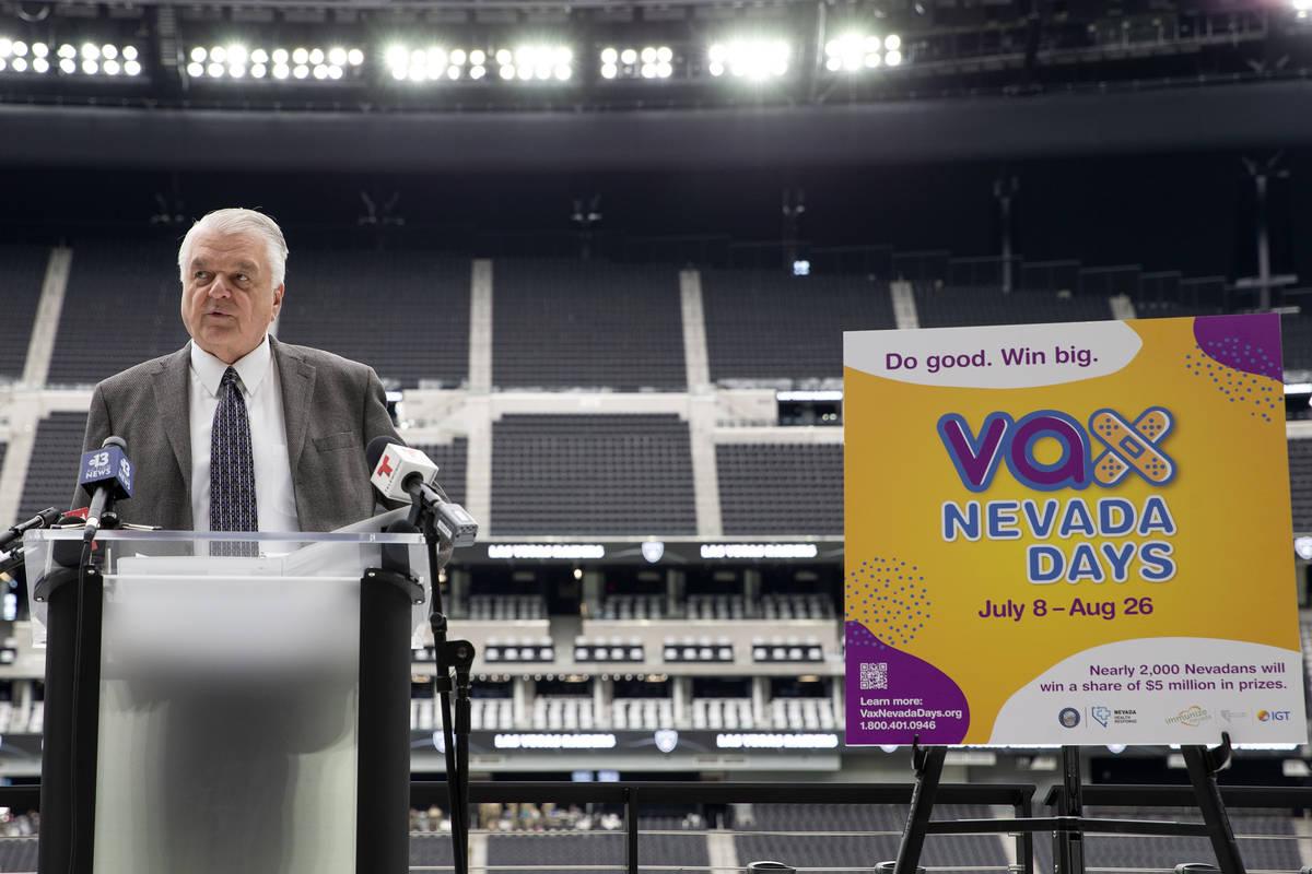 "Gov. Steve Sisolak announces a COVID-19 vaccine incentive program, ""Vax Nevada Days,"" ..."