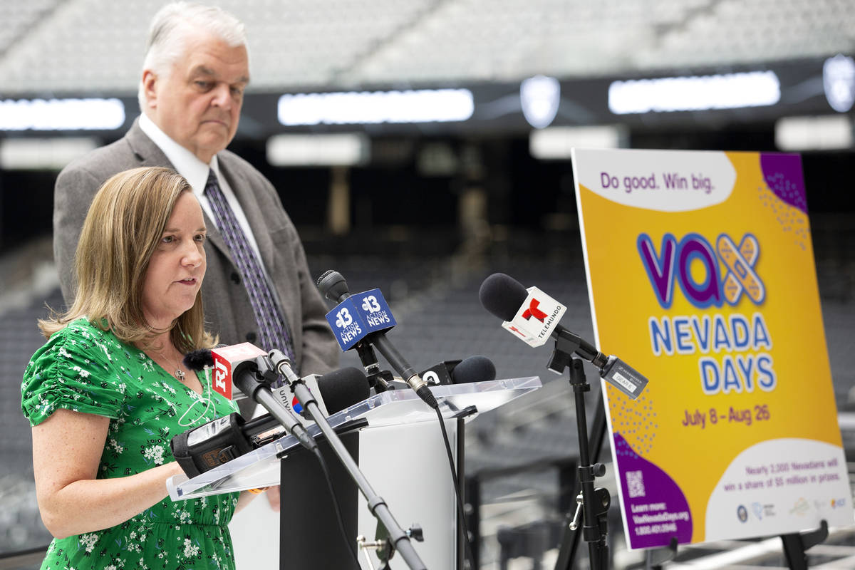 Heidi Parker, executive director of Immunize Nevada, helps to announce a COVID-19 vaccine incen ...