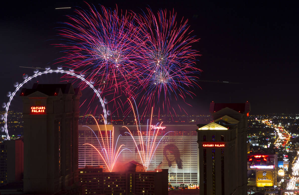 A fireworks show goes off at Caesars Palace on The Strip to kick off a week-long of Fourth of J ...