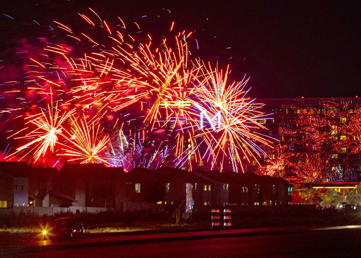 Fireworks go off above the M Resort in Henderson on Saturday, July 4, 2020. (Chase Stevens/Las ...