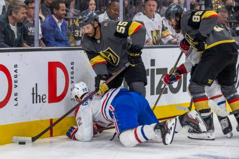 Golden Knights right wing Keegan Kolesar (55) controls the puck after checking Montreal Canadie ...