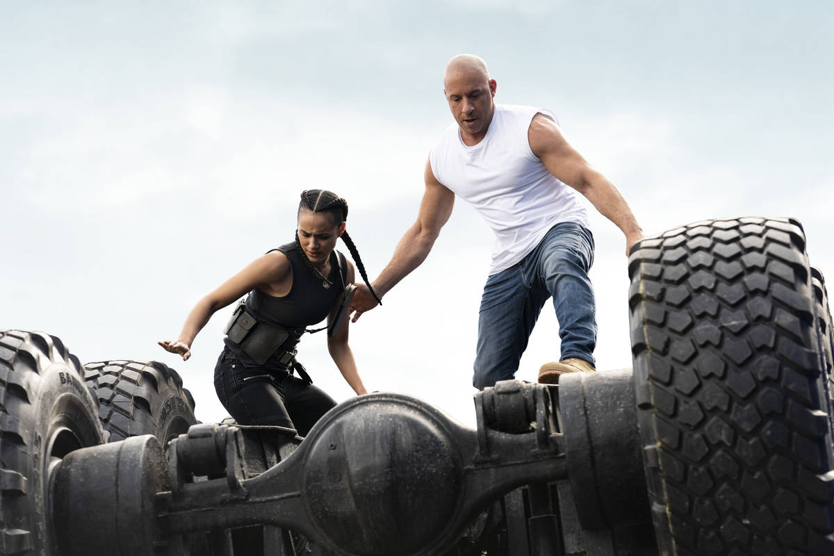 (from left) Ramsey (Nathalie Emmanuel) and Dom (Vin Diesel) in F9, co-written and directed by J ...