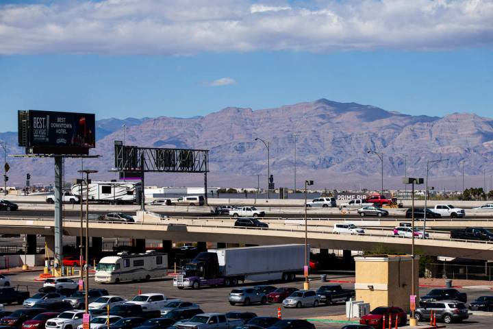 Traffic moves along U.S. Highway 95 as some vehicles take the Casino Center Boulevard offramp i ...